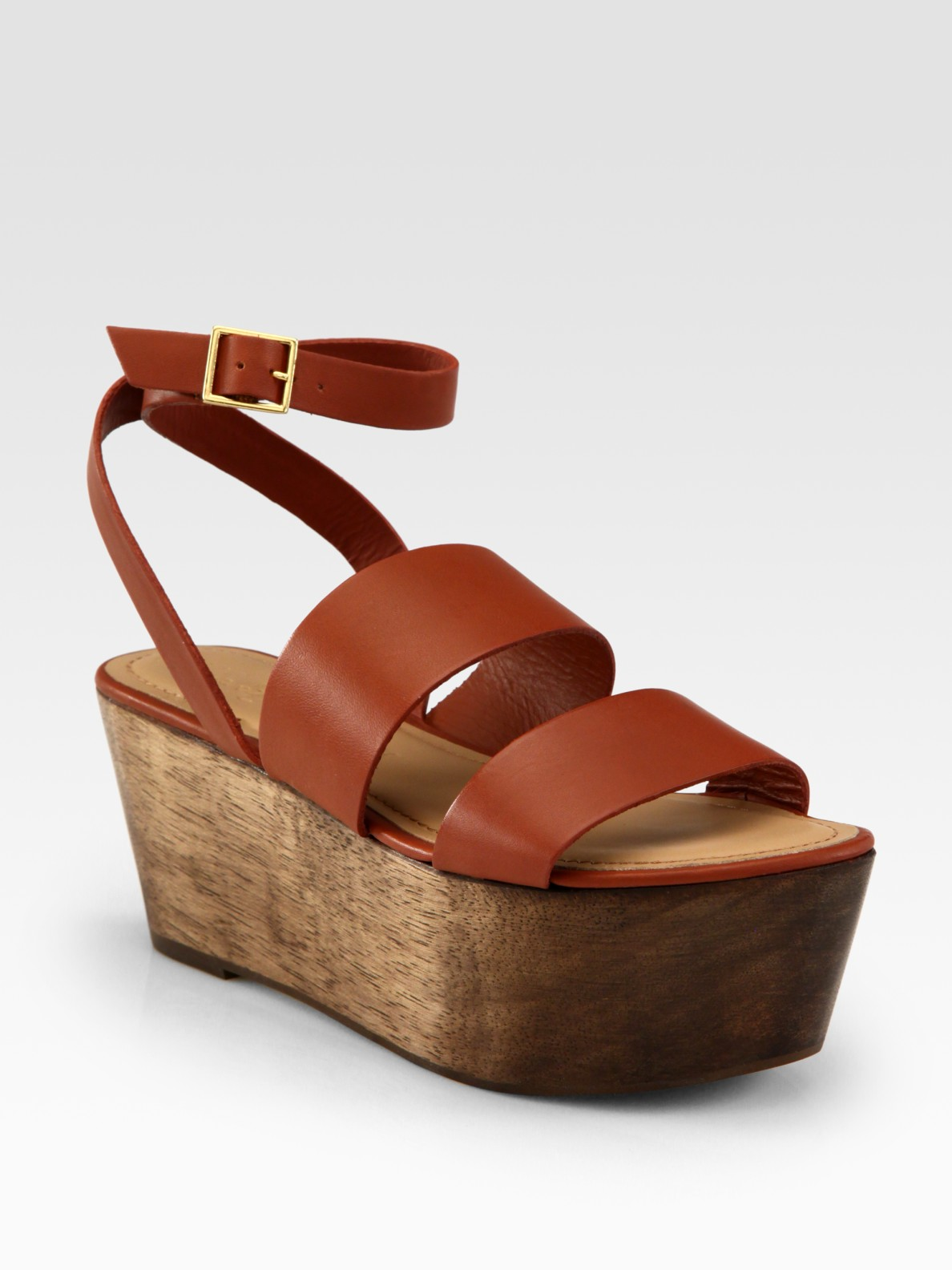 c6c9bed8e254e Elizabeth and James Brown Leather & Wood Platform Sandals