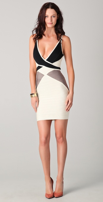 Herve leger black white dress