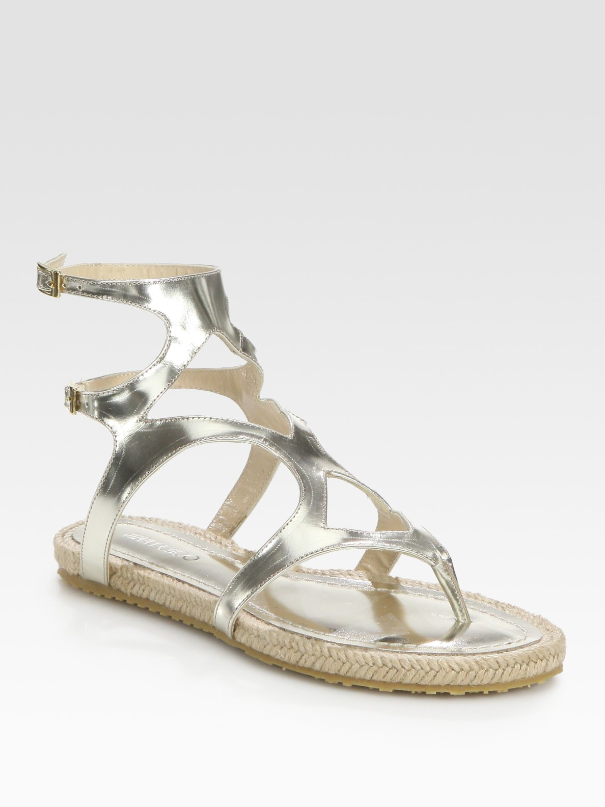 4f4b99fd47dd0 Lyst - Jimmy Choo Peachy Metallic Leather Espadrille Thong Sandals ...