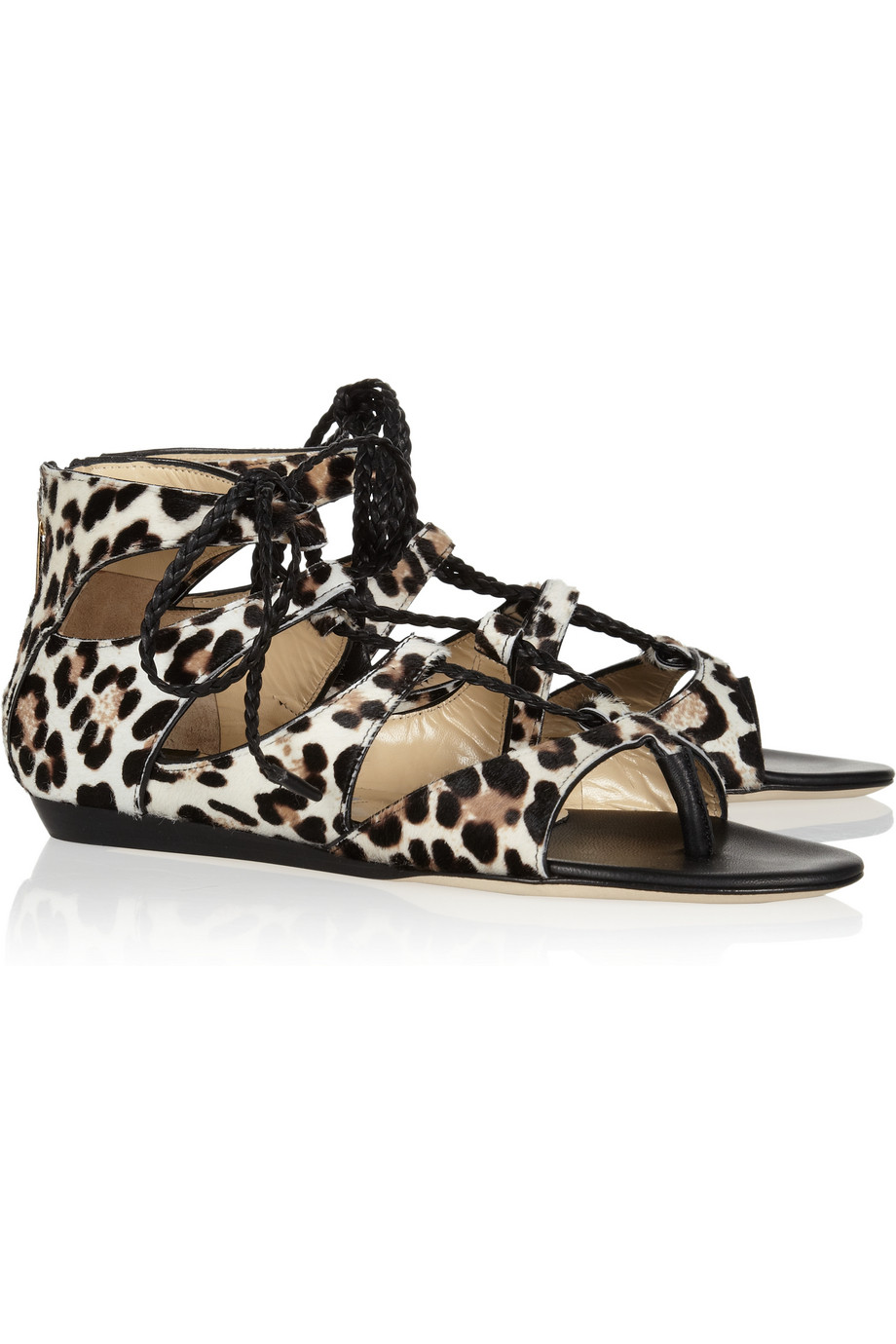 Jimmy Choo Leopard Print Calf Hair Sandals In Black Lyst