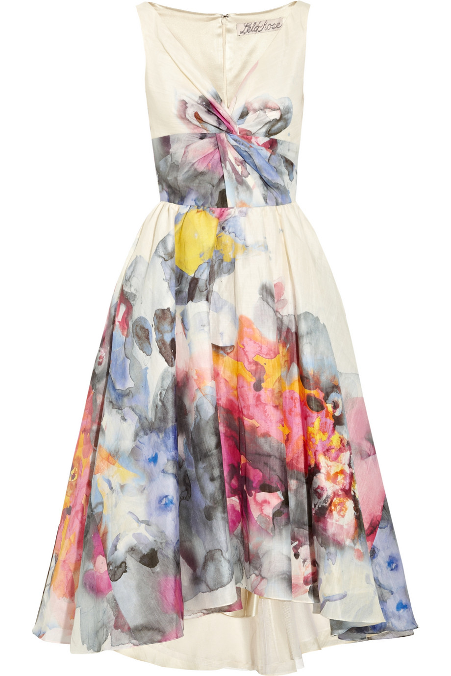 Lela Rose Printed Voile Dress In Multicolor Ivory Lyst