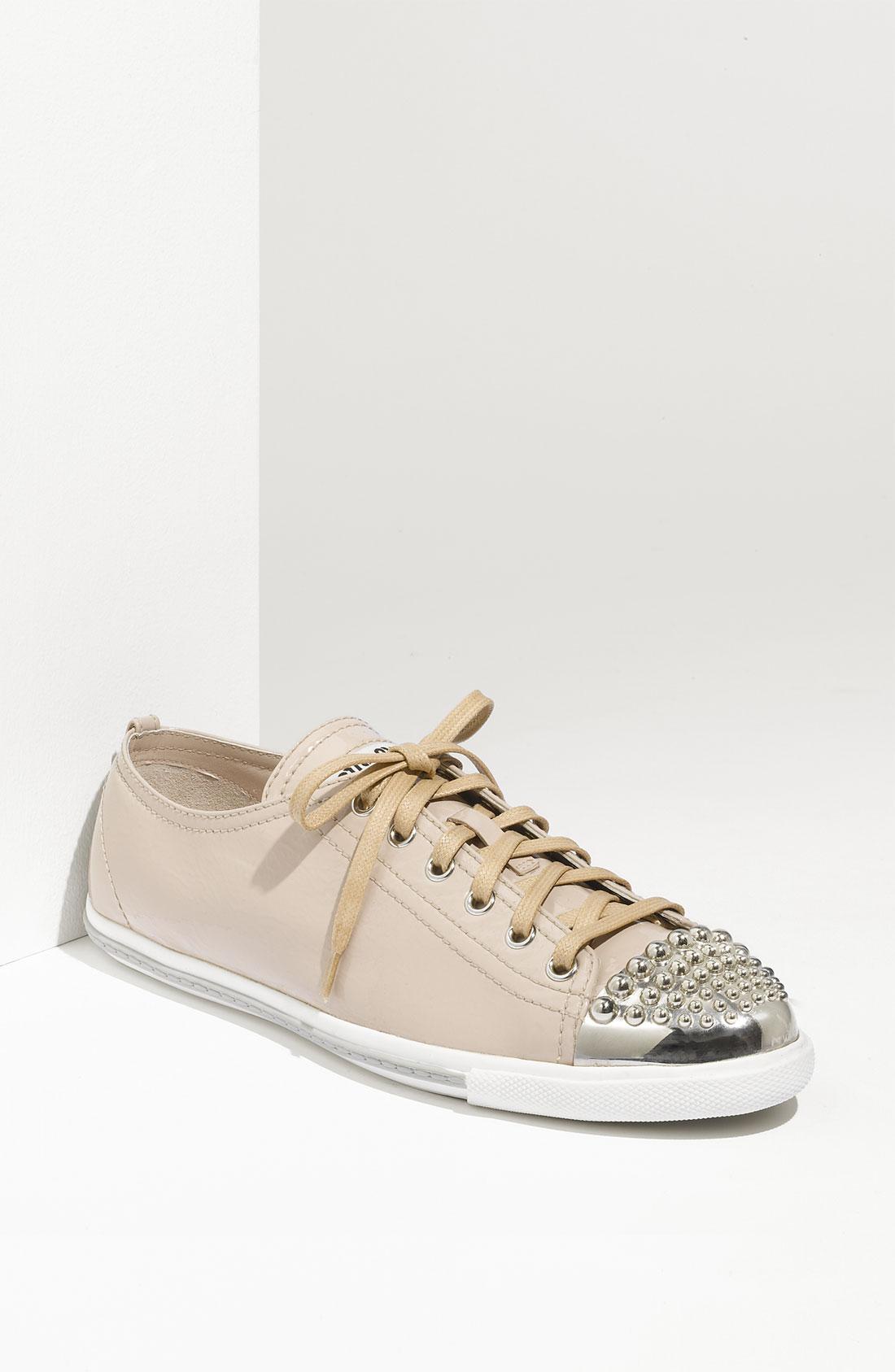 miu miu glitter 2 sneaker in beige nude leather lyst. Black Bedroom Furniture Sets. Home Design Ideas
