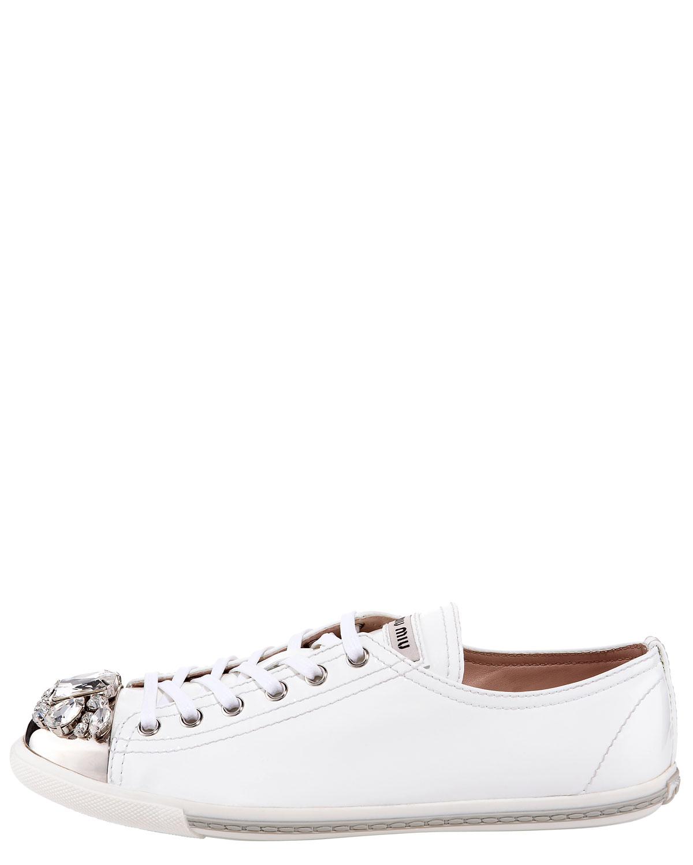 miu miu jeweled toe sneaker in white lyst. Black Bedroom Furniture Sets. Home Design Ideas