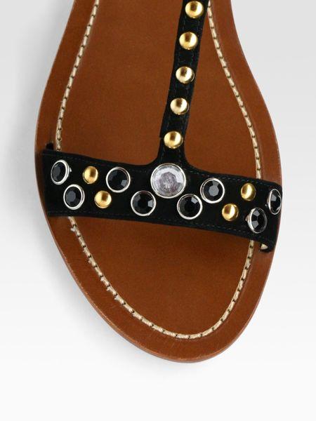 Prada Embellished Crystal And Stud Flat Sandals In Black