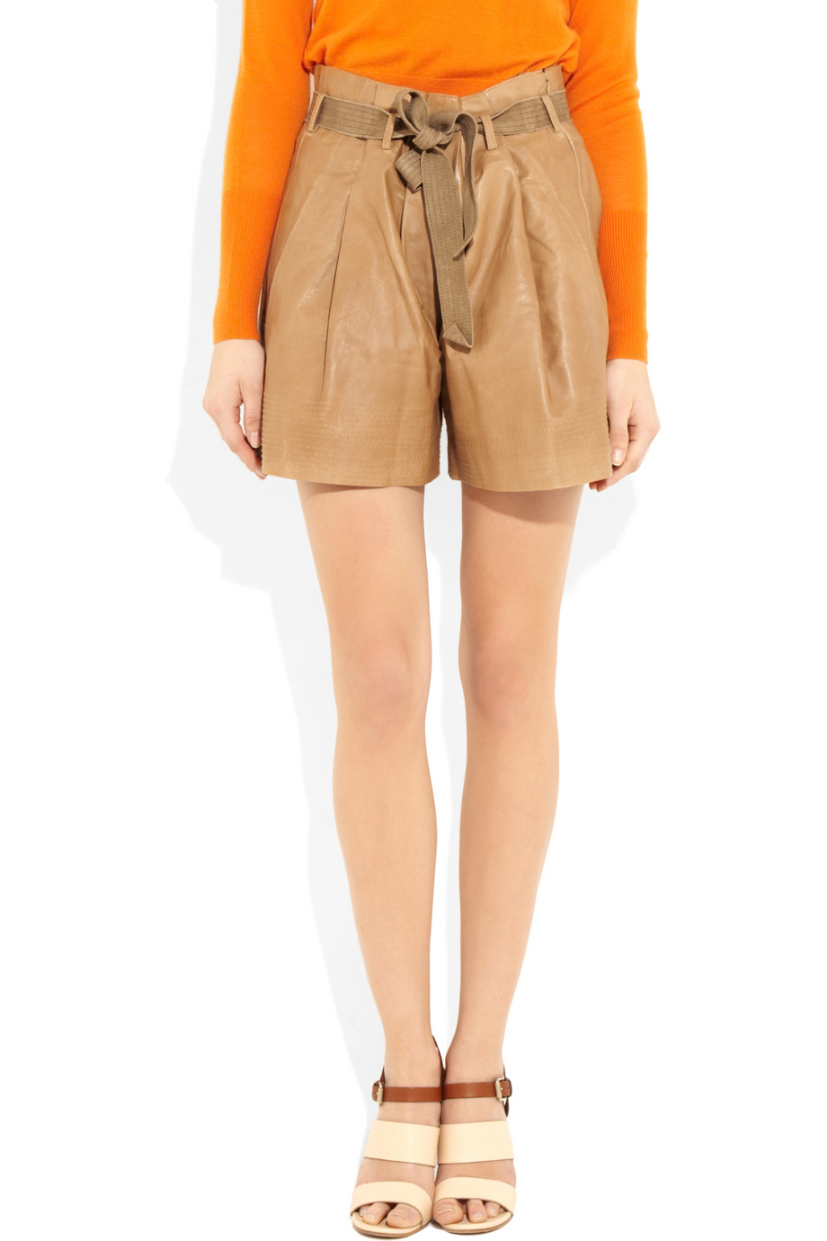 684335f9 See By Chloé Brown High-waisted Leather Shorts