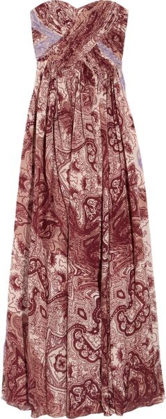 Tibi Swirl Paisley Printed Silkchiffon Maxi Dress in Red (black)