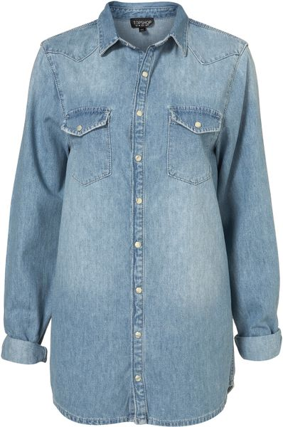 Topshop Oversized Denim Shirt in Blue (bleach stone)