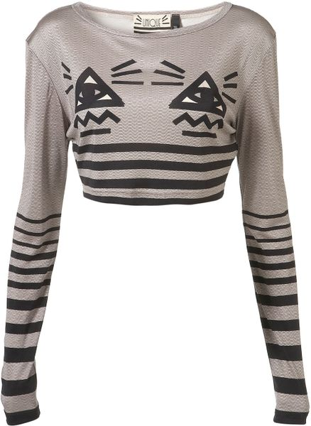 Topshop All Seeing Eye Crop By Unique** in Gray (multi)