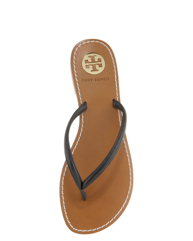 Tory Burch Abitha Leather Flip-Flops In Gold Black - Lyst-2262