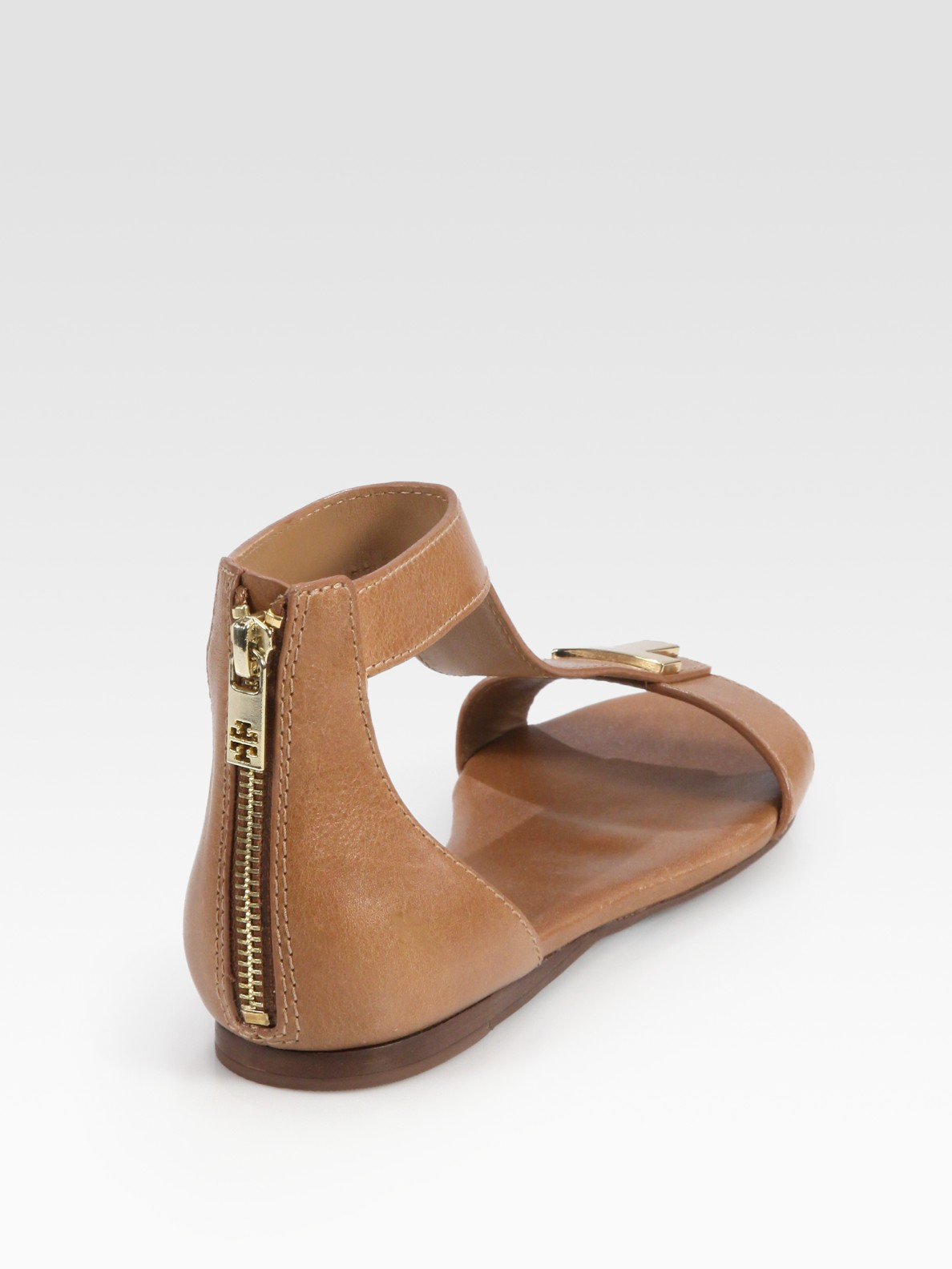 51c1988c1207 Lyst - Tory Burch Casey Leather T-strap Zip Sandals in Brown