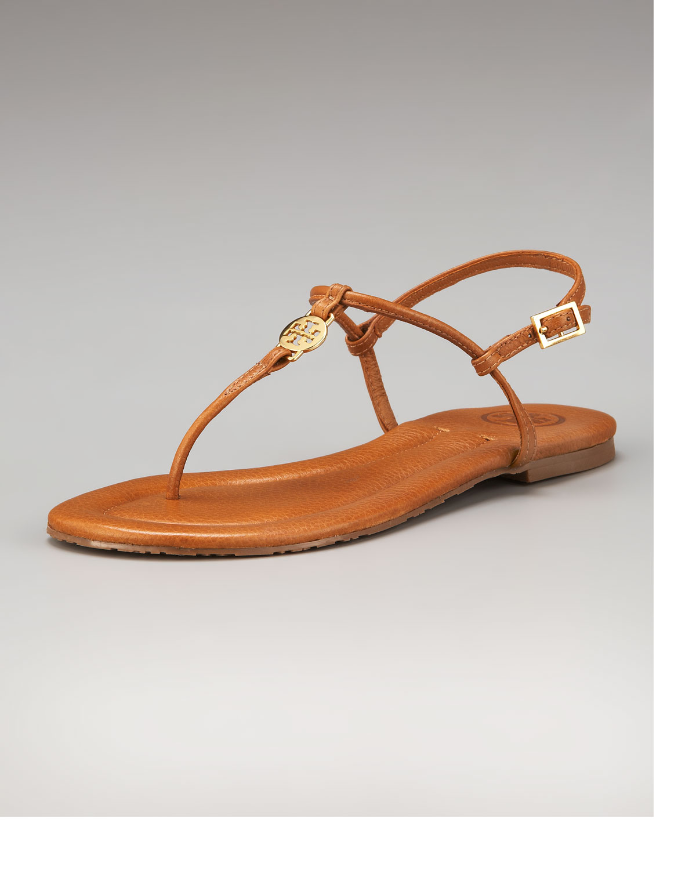 16d5a0d3c59e Lyst - Tory Burch Emmy Logo Thong Sandal in Brown