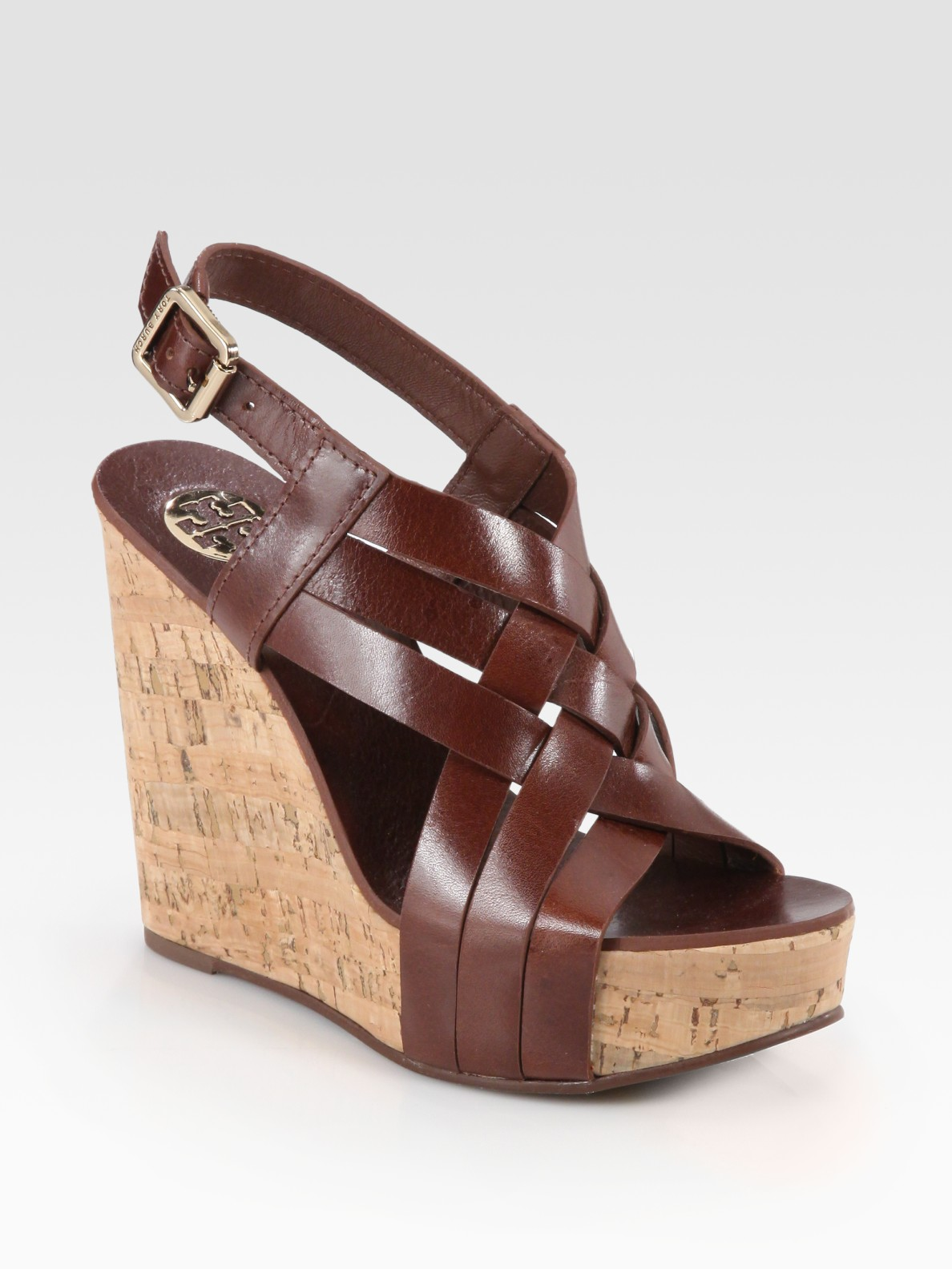 Lyst Tory Burch Ace Slingback Leather And Cork Wedge