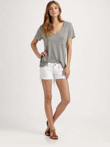 True Religion Keira Frayed Denim Shorts in White (grey)