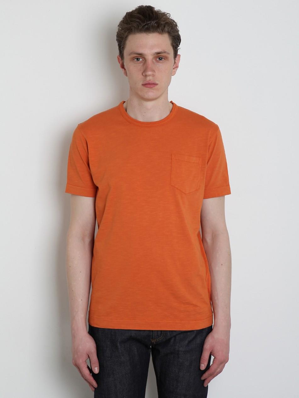 Ymc ymc mens slub jersey pocket t shirt in orange for men for What is a slub shirt