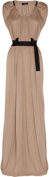 Amanda Wakeley Draped Belted Jersey Maxi Dress - Lyst