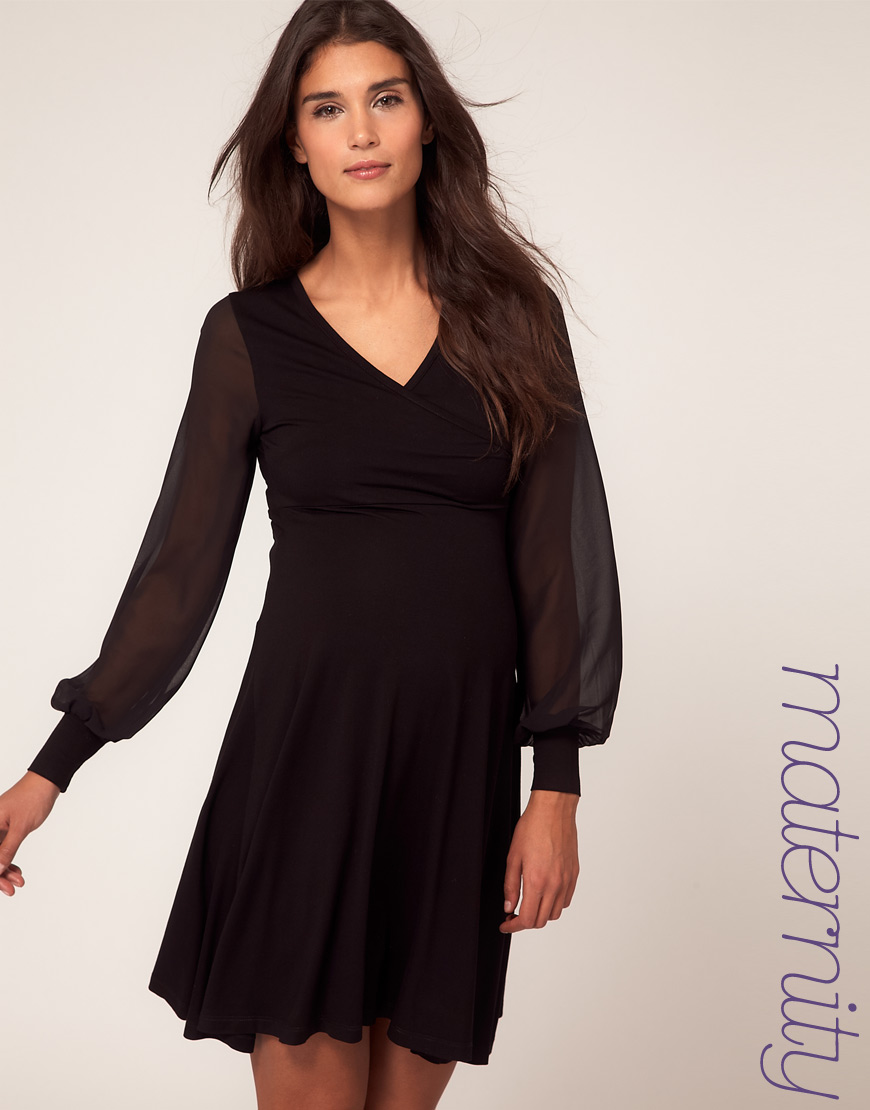 Lyst asos maternity dress with wrap and chiffon sleeve in black gallery ombrellifo Choice Image