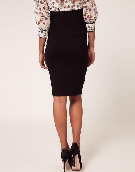 asos maternity jersey pencil skirt in black lyst