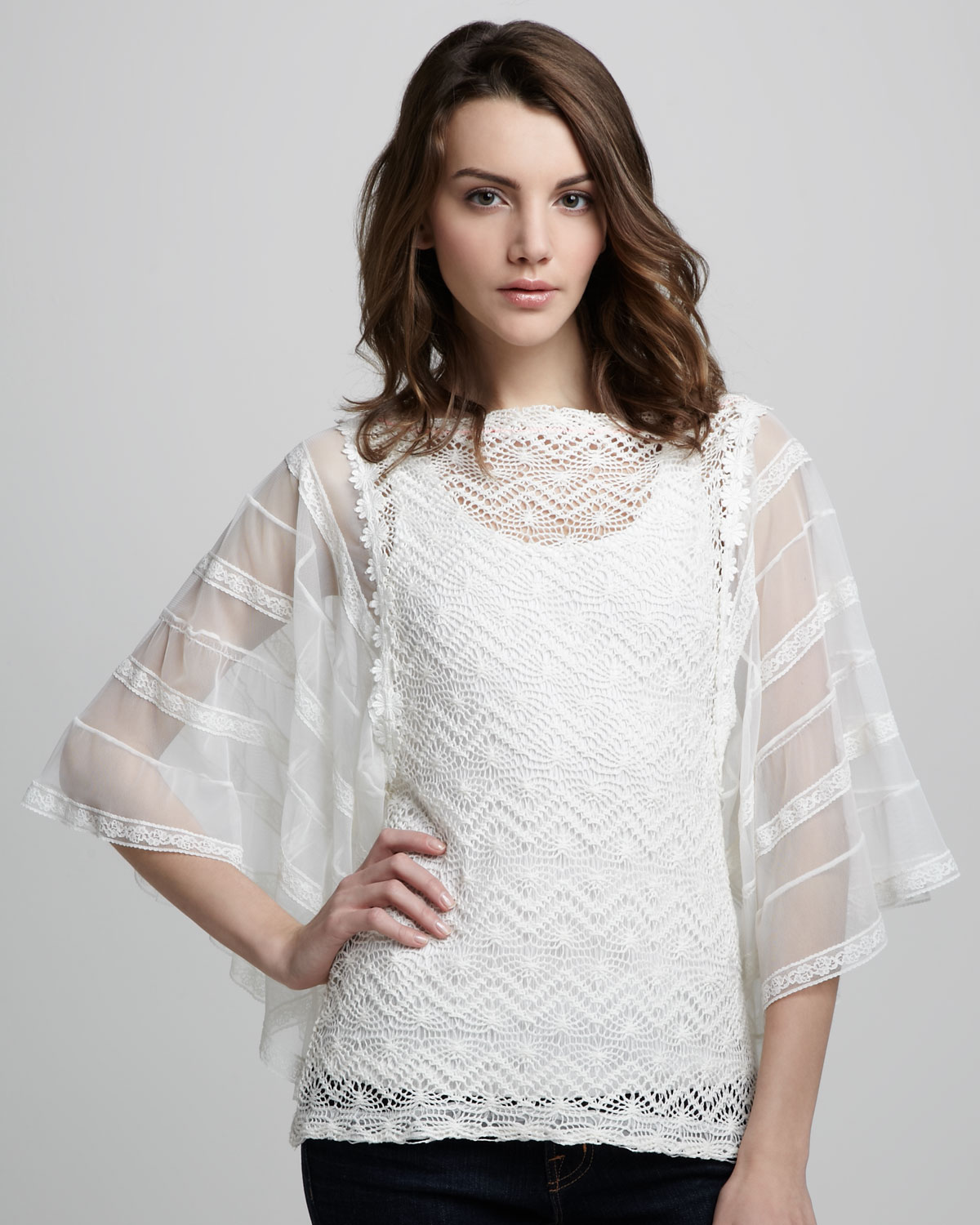 Lyst Free People Flower Child Crochet Tunic In White