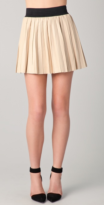 2728335059 Parker Pleated Leather Skirt in Natural - Lyst