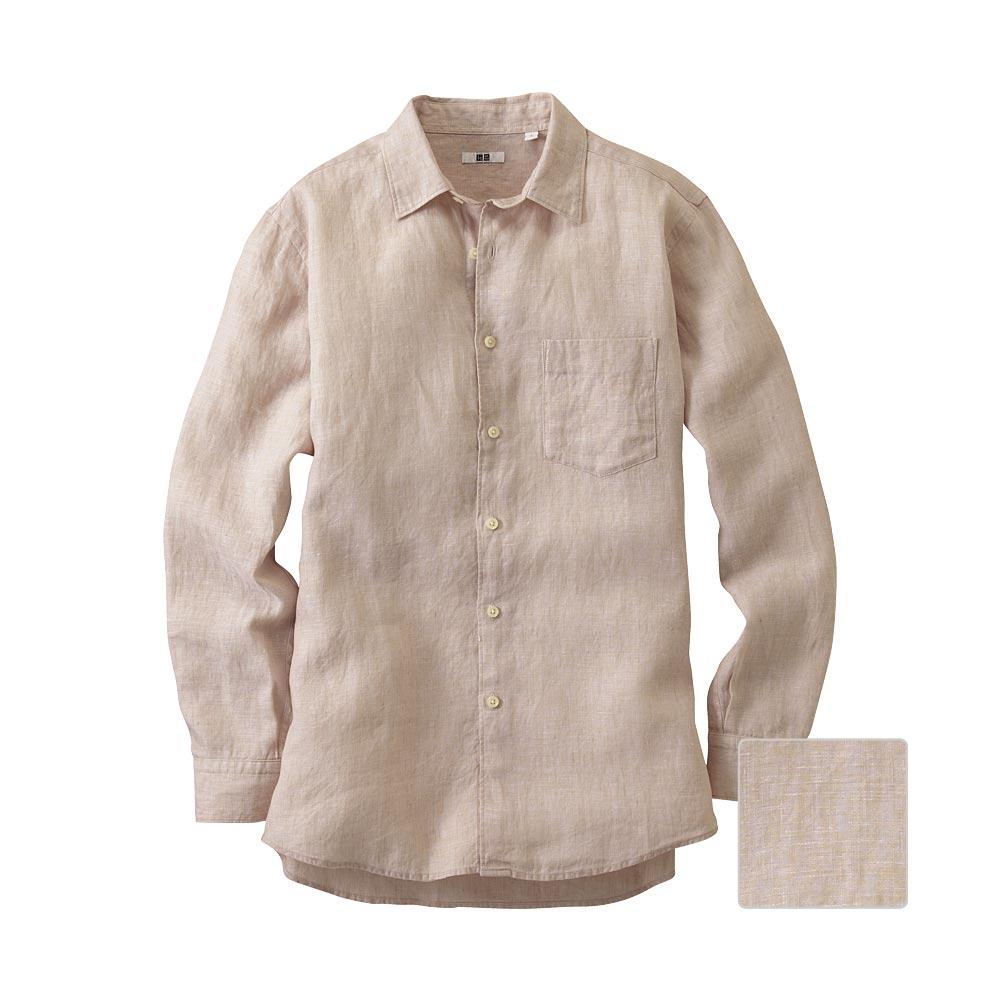 Uniqlo men premium linen long sleeve shirt in khaki for for Uniqlo premium t shirt