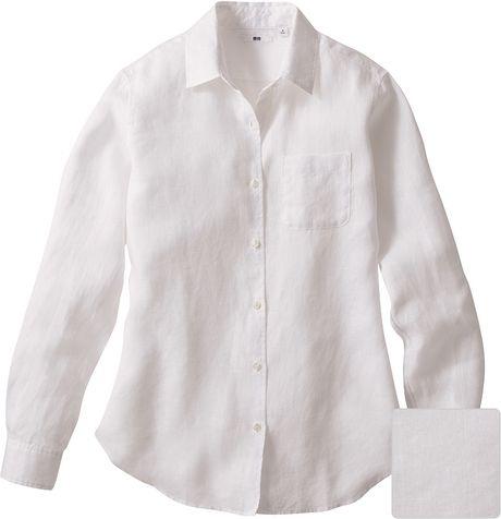 Uniqlo women premium linen long sleeve shirt a in white lyst for Uniqlo premium t shirt