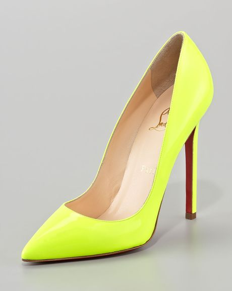 Christian Louboutin Pigalle Neon Pump in Yellow | Lyst