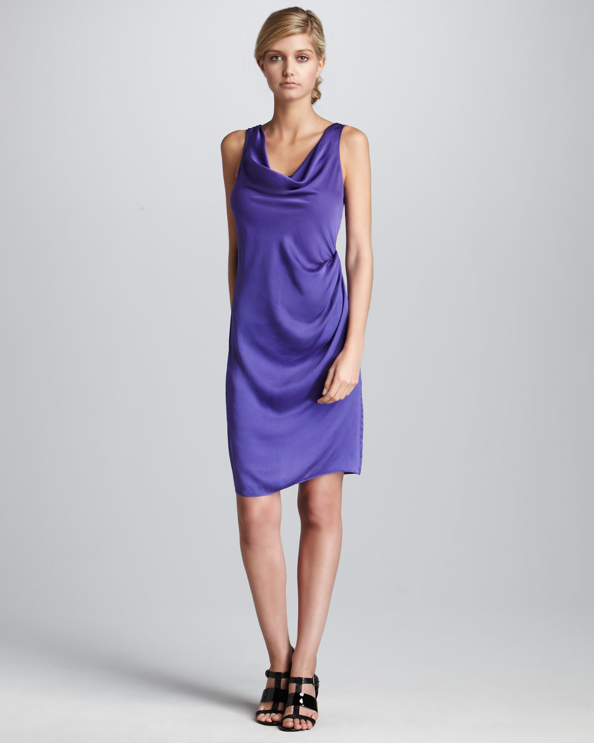 Cowl Neck Satin Wedding Dresses: Theory Satin Cowl-neck Dress In Purple (bright Violet)