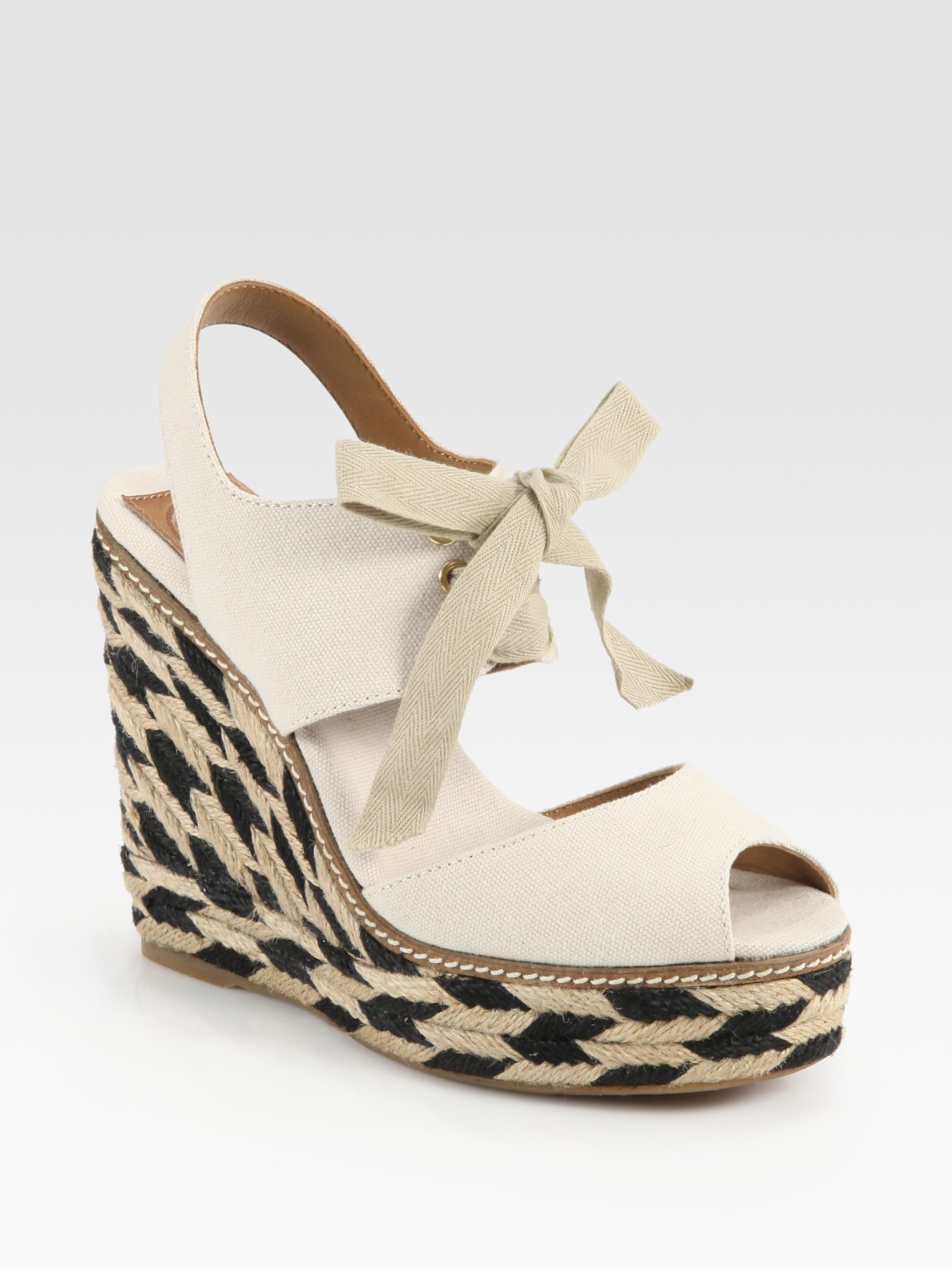 Tory Burch Linley Lace Up Mixed Media Espadrille Wedge