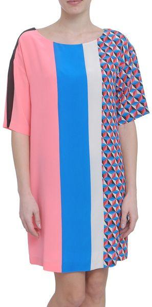 Msgm Geometric Print Silk Multicolor Dress in Multicolor