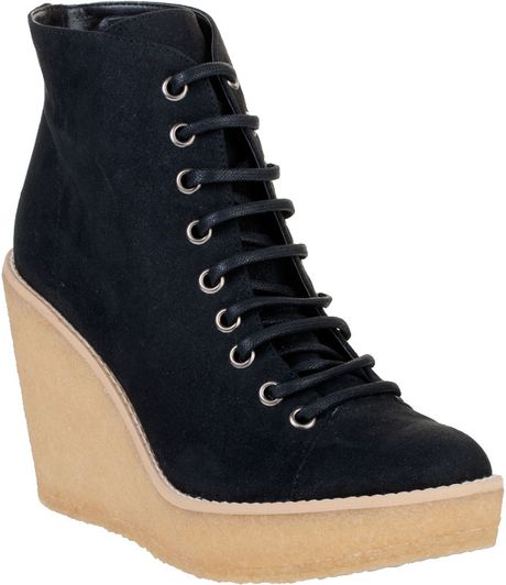 stella mccartney rubber wedge faux suede ankle boots black