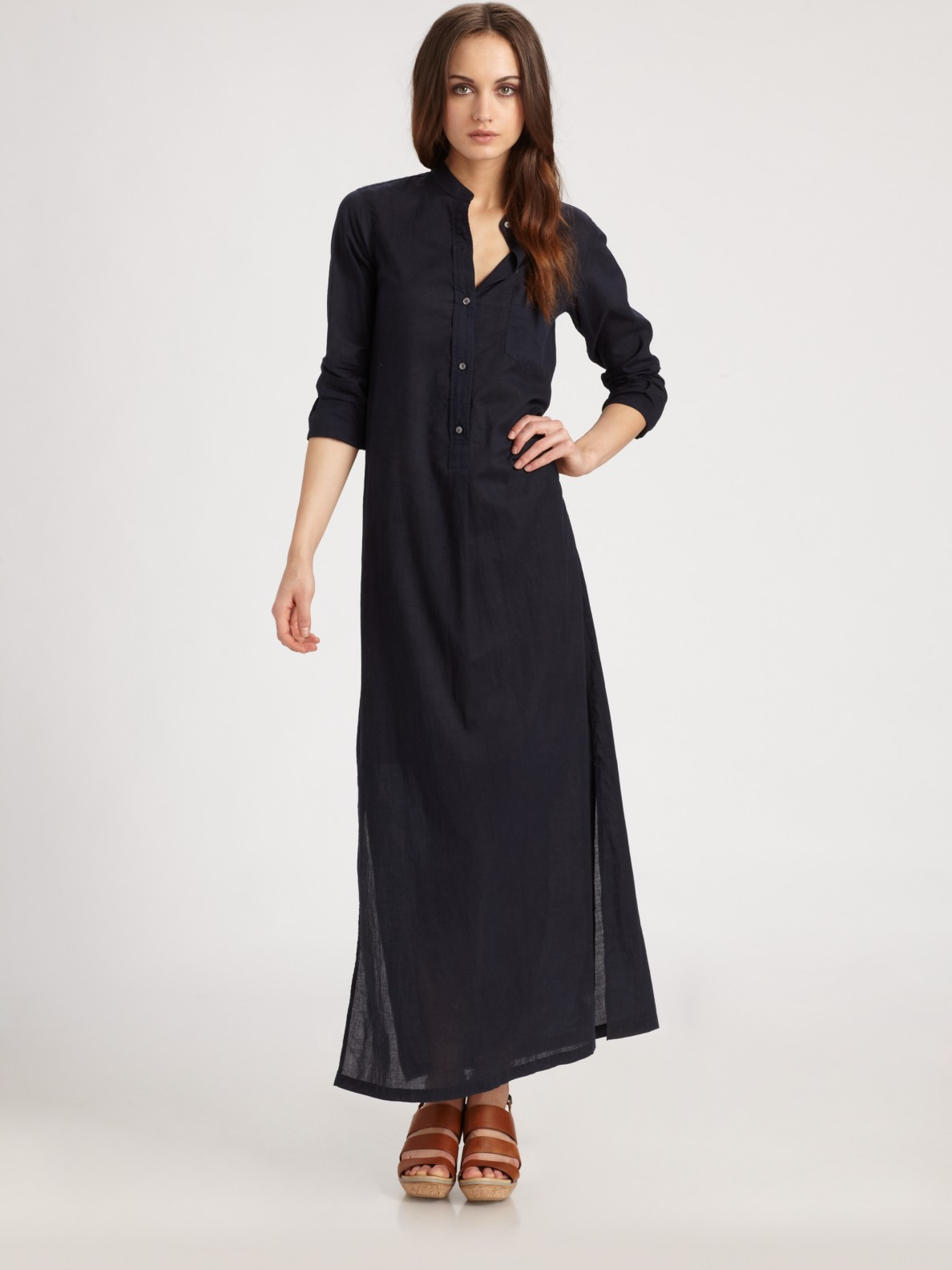 Lyst Vince Long Cotton Shirtdress In Black