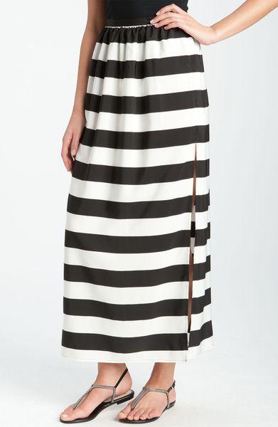 vince camuto wide stripe maxi skirt in black rich black