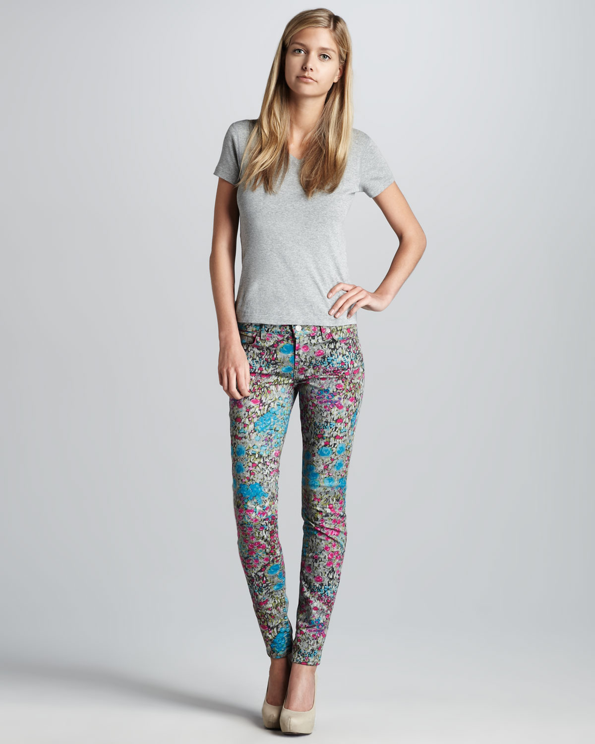 for all mankind multicolor jeans skinny jeans in garden party. Black Bedroom Furniture Sets. Home Design Ideas
