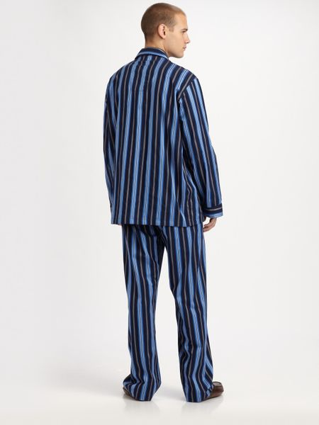 [28% OFF] 2021 Cotton Striped Pajamas Set In BLUE | ZAFUL