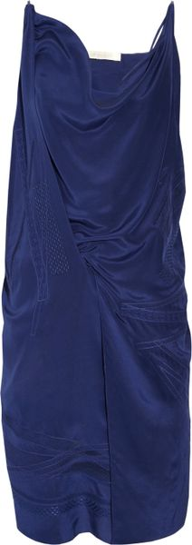 Vanessa Bruno Embroidered Silk Charmeuse Dress in Blue