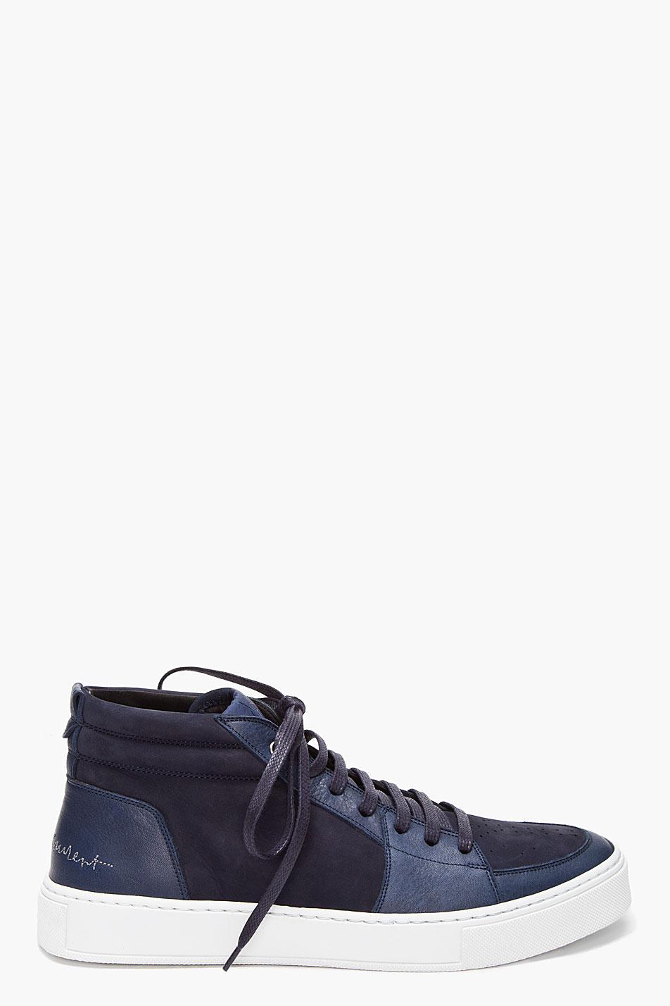 saint laurent navy mid malibu sneakers in blue for men lyst. Black Bedroom Furniture Sets. Home Design Ideas