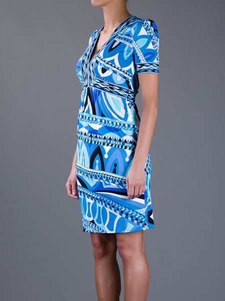 Blue Emilio Pucci V Neck Dress Pucci Printed V neck Dress
