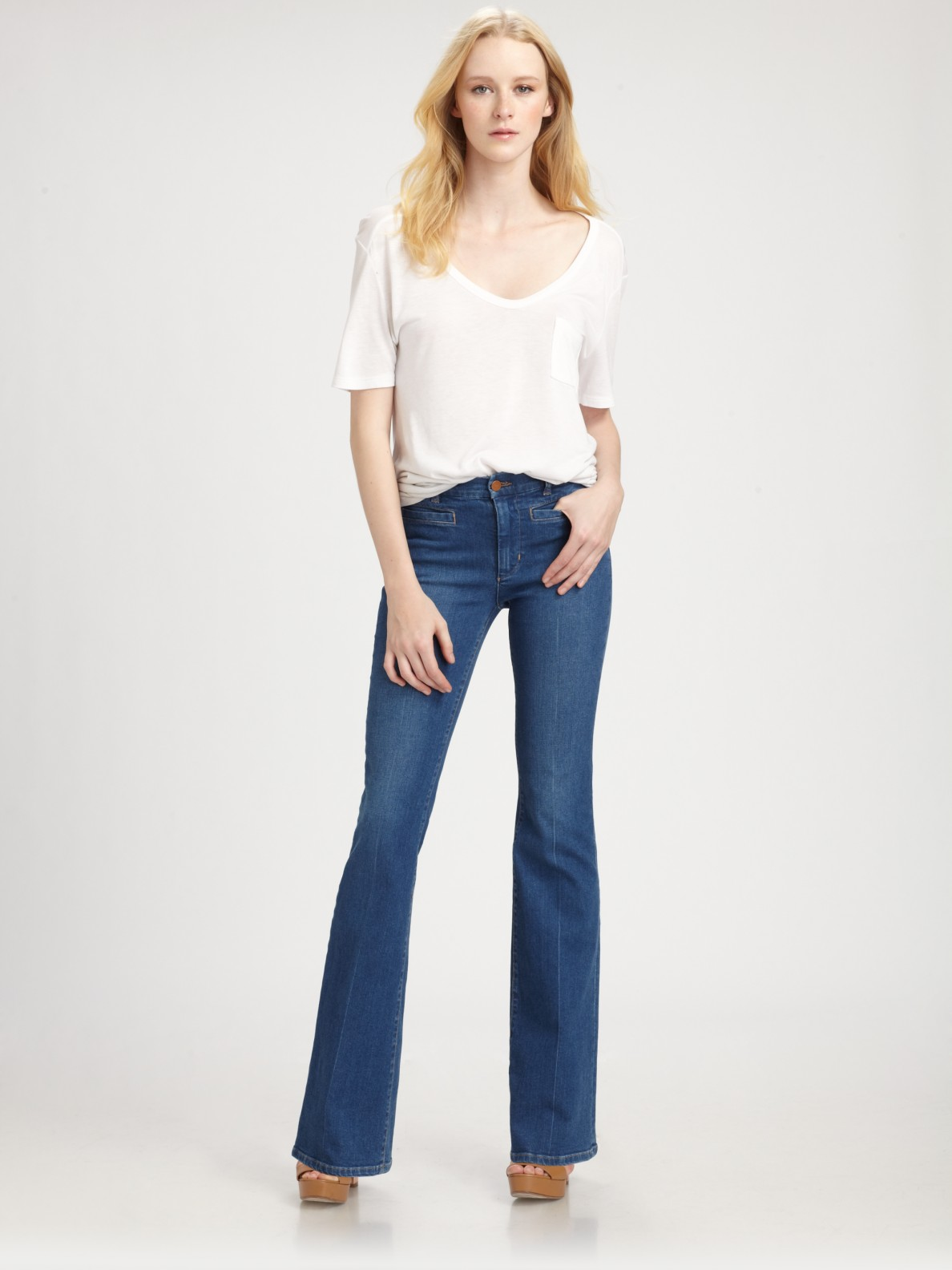 M.i.h jeans Marrakesh Mid-Rise Kick Flare Jeans in Blue | Lyst