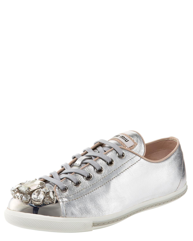 miu miu jeweled cap toe sneaker in silver lyst. Black Bedroom Furniture Sets. Home Design Ideas