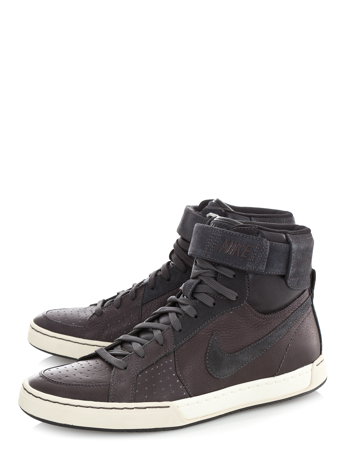 nike flytop air leather hi top sneakers in gray for men charcoal lyst. Black Bedroom Furniture Sets. Home Design Ideas