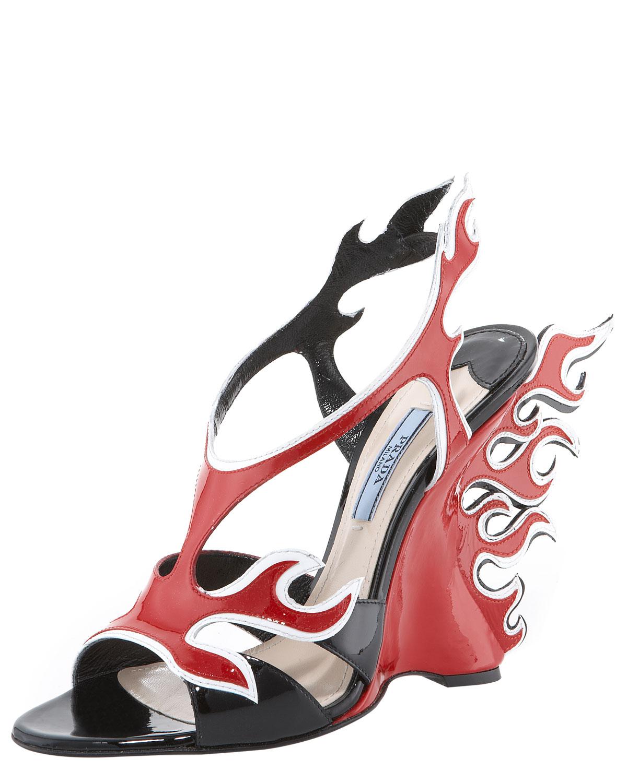 4d24df0a824 Lyst - Prada Flame Wedge Sandal in Red
