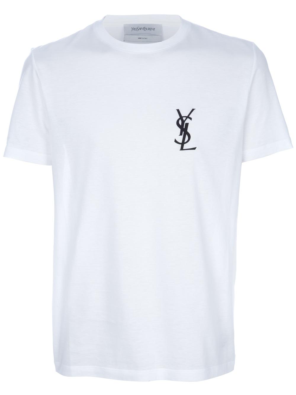 saint laurent printed t shirt in white for men lyst. Black Bedroom Furniture Sets. Home Design Ideas