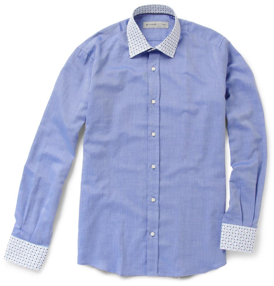 Etro contrast collar and cuffs cotton shirt in blue for for Mens dress shirts with contrasting collars and cuffs