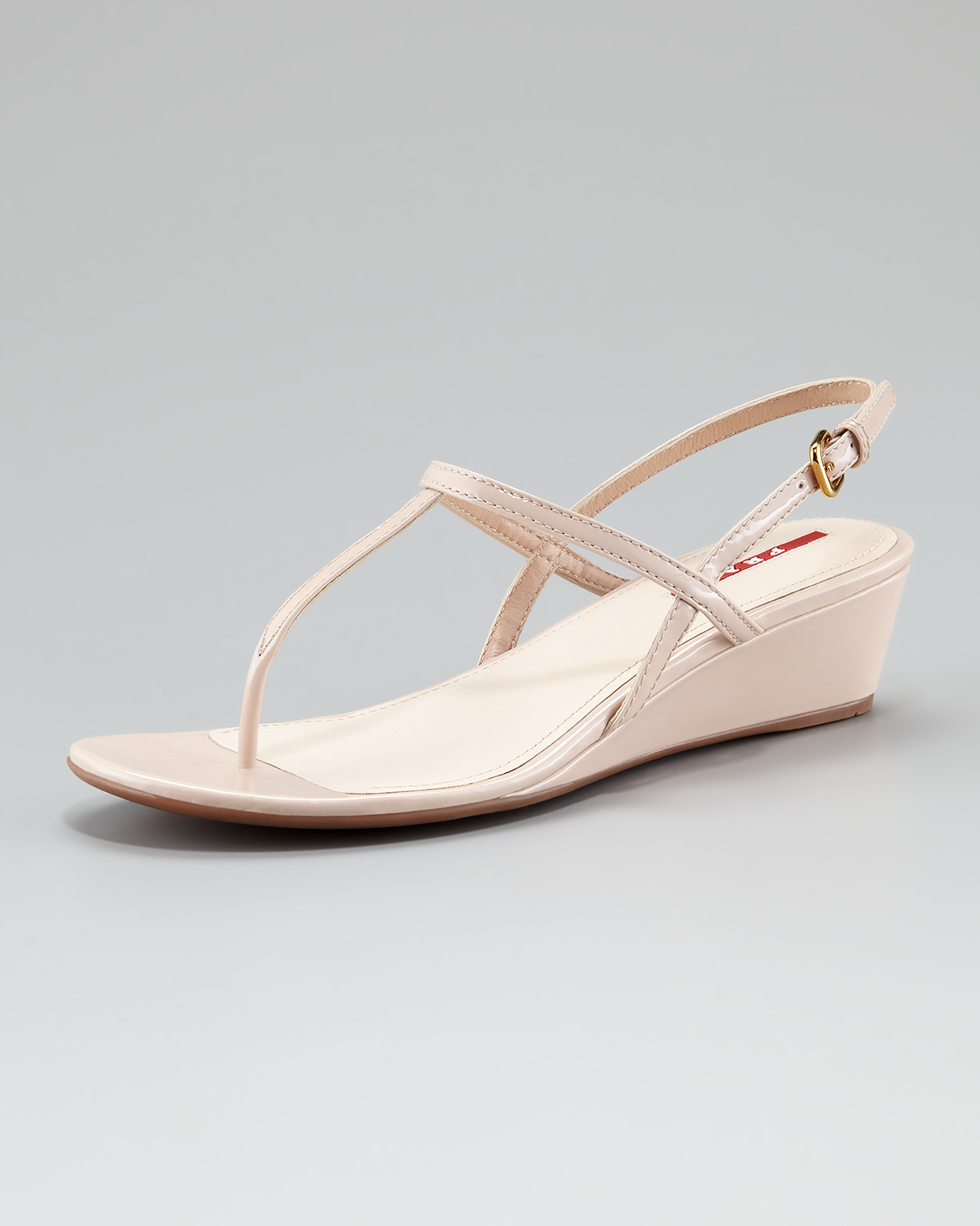 6c7ac5c18a Prada Patent Leather T-strap Wedge Sandal in Natural - Lyst