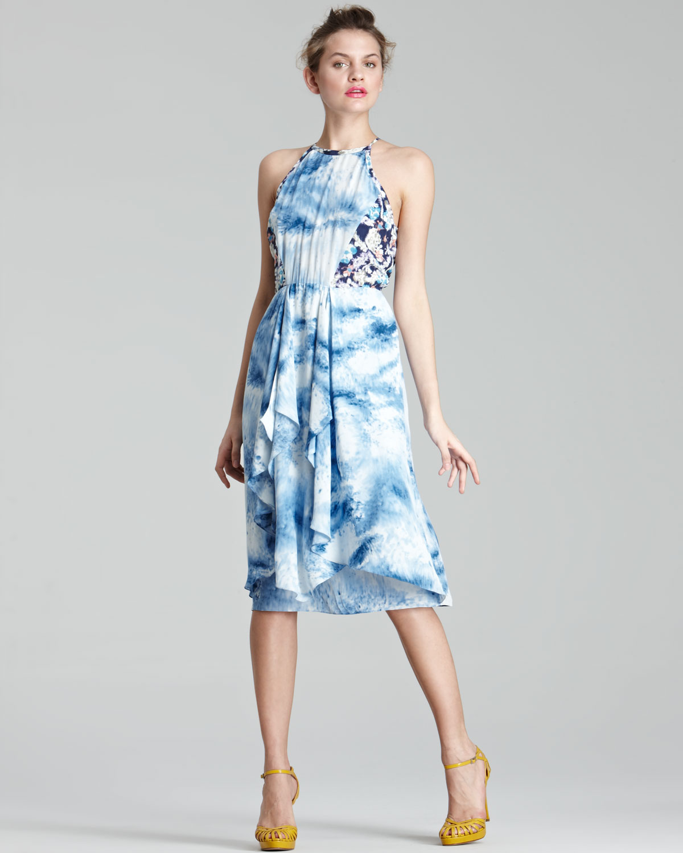 Rebecca taylor Mixed-print Silk Dress in Blue - Lyst