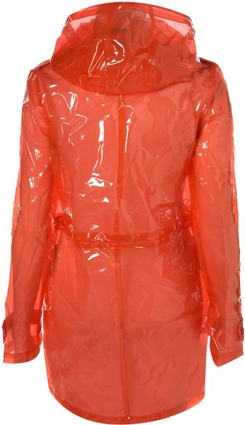 Topshop Coloured Clear Plastic Mac In Red Lyst