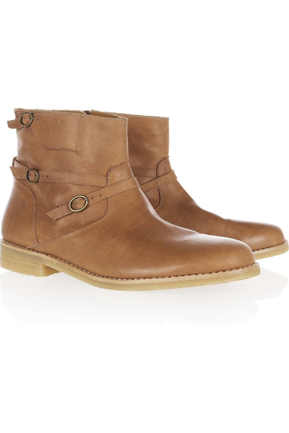 Vanessa bruno athé Buckled Flat Leather Ankle Boots in Brown | Lyst