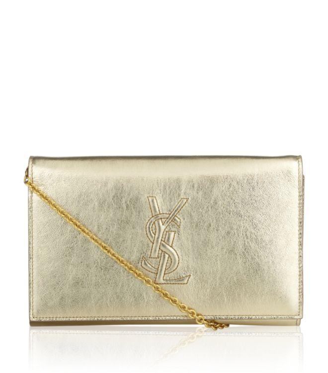 Saint laurent Belle De Jour Clutch Bag in Gold | Lyst