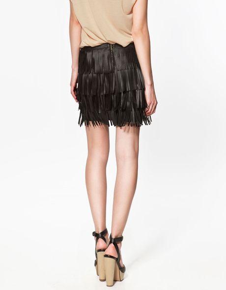 zara fringed skirt in black lyst