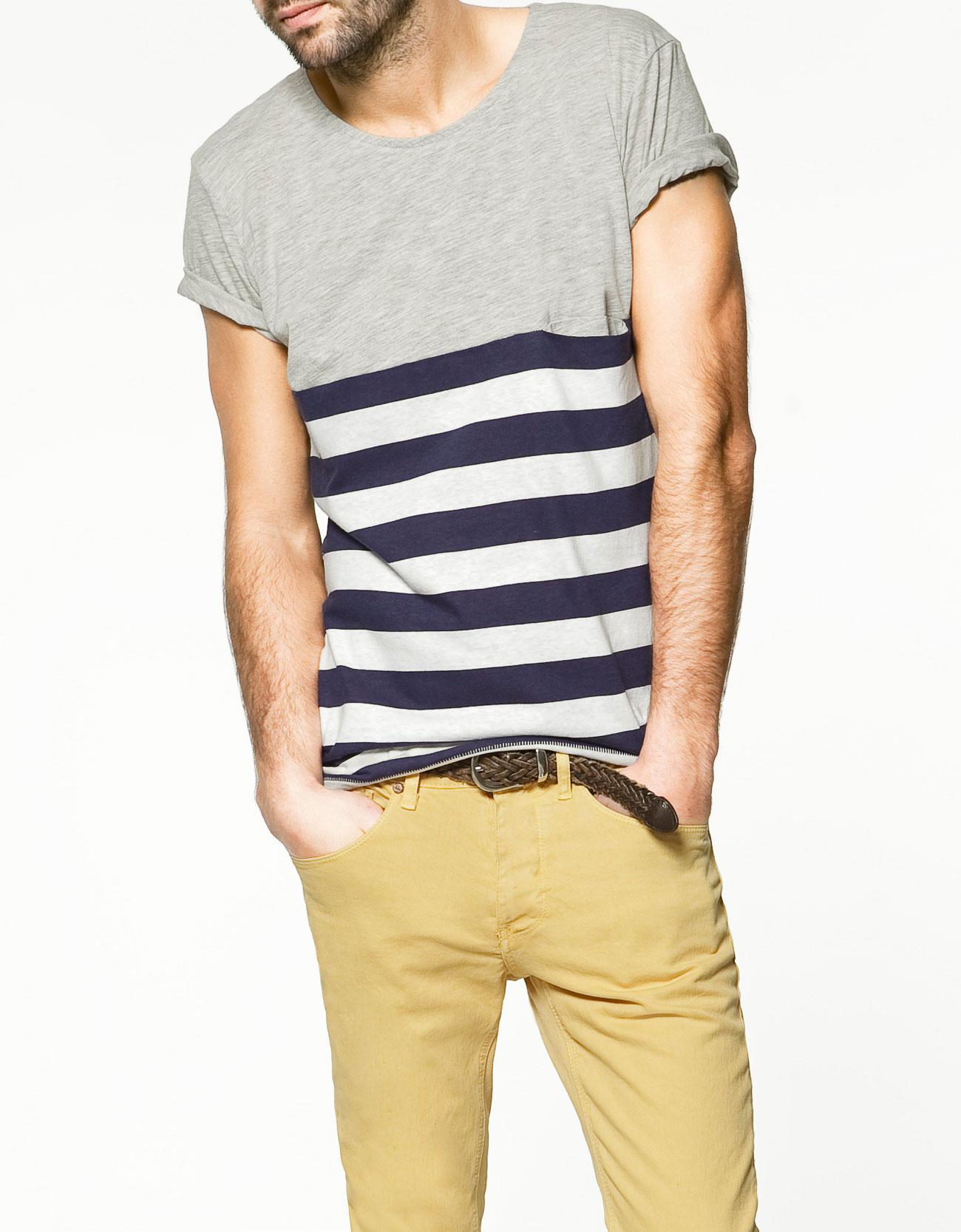 Zara Plain Striped T Shirt In Gray For Men Grey Lyst